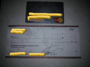 blank check and credit card